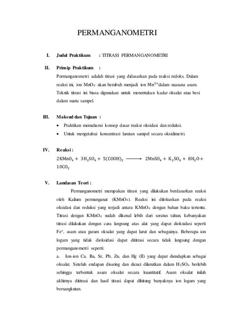 laporan praktikum membuat generator laporan praktikum permanganometri