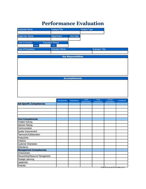 employee evaluation forms performance review examples quality rfq toolstemplates