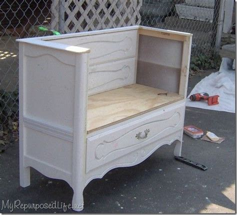 dresser turned bench turn an old dresser into a hall bench crafty pinterest