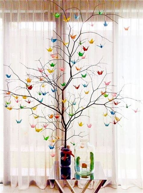 Origami Crane Tree - 40 inspirational tree branches decoration ideas bored
