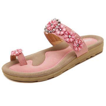 Side Flower Shoes Size 27 30 bohemian rhinestone flower clip toe sandals slip on