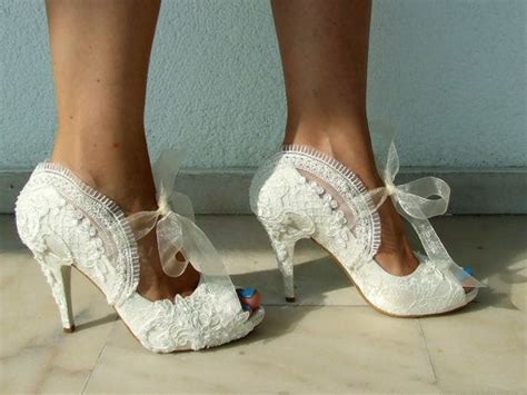 Wedding Shoes With Pearls by Wedding Shoes Bridal Shoes Embroidered Ivory Lace With
