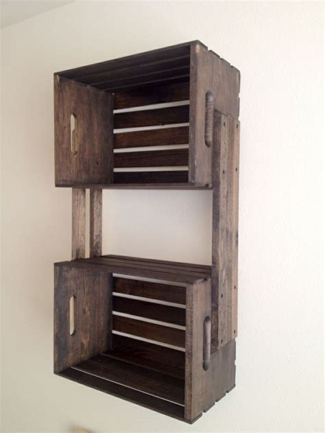 wooden crate shelves brown wooden crate hanging wall shelves crafts