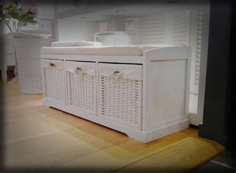 shabby chic storage bench seat shabby chic seat bench with storage baskets padded seat ebay