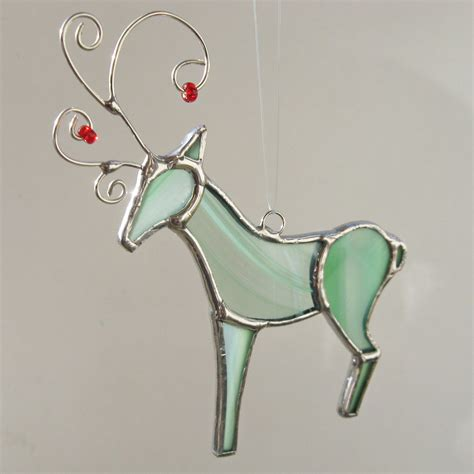mint green stained glass reindeer ornament by fivesparrows