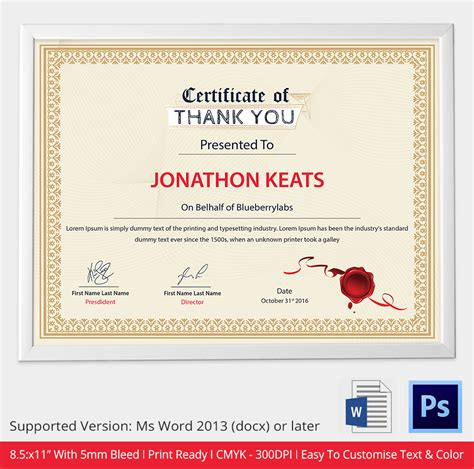 thank you certificate templates word certificate template 31 free sles