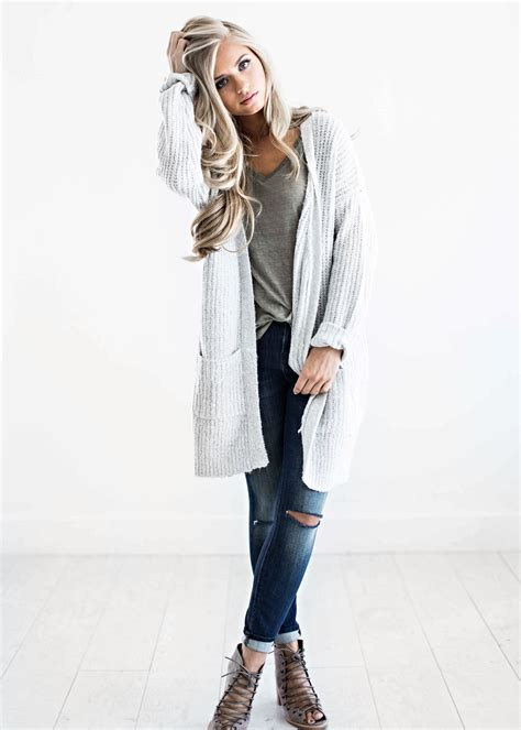 woman in winter clothing sweaters light grey sweater fall fashion womens get