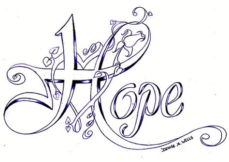 quot hope quot tattoo design by denise a wells quot hope quot tattoo