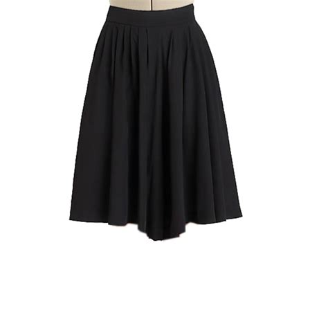 black pleated flared skirt custom fit handmade fully