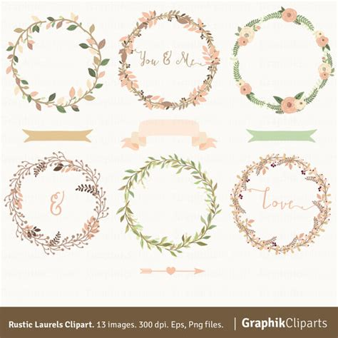 Laurel Wedding Clipart by Rustic Laurels Wreaths Clipart Rustic Wedding