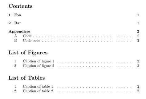 latex appendix tutorial numbering appendices indented as multilevels in table of