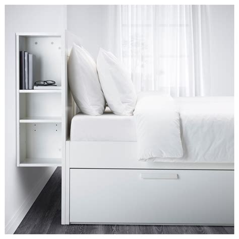 double headboard ikea brimnes bed frame w storage and headboard white l 246 nset