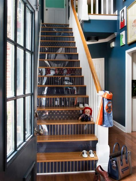 Riser Room by How To Step Up Your Stair Risers With Wallpaper Hgtv
