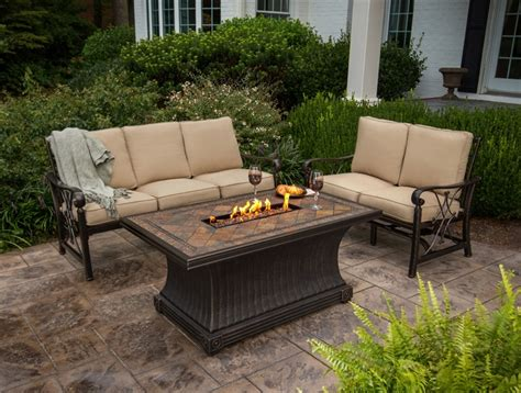 patio furniture with gas pit table rectangular brown pit table with tile top