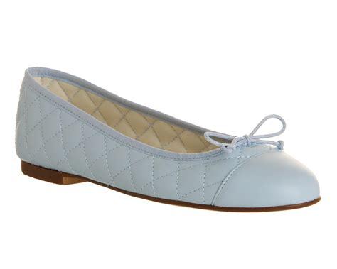 womens office cecilia toe cap ballerina light blue leather