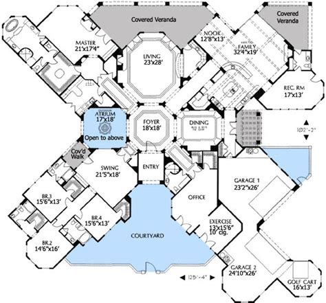 unusual floor plans plan 16320md outdoor atrium house plans rec rooms and home