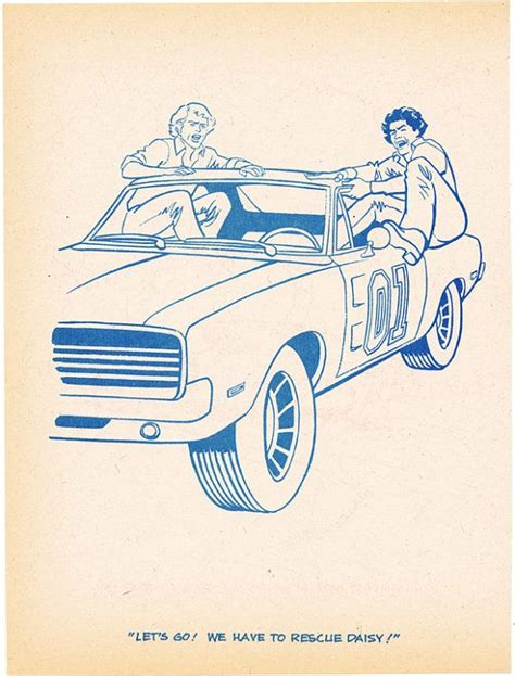 coloring book page dukes of hazzard angry jump into