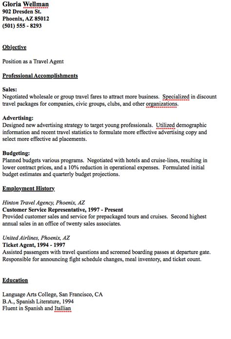 Sample Travel Agent Resume 50 Best Templates