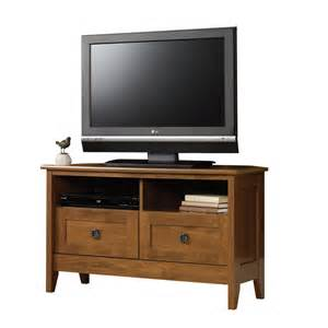 corner tv stands shop sauder august hill oak corner corner television