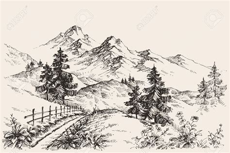 Sketches Mountains by A Path In The Mountains Sketch In 2019 Pencil Tree