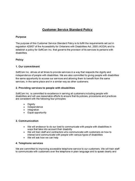 customer service manual template customer service policy template 2 free templates in pdf