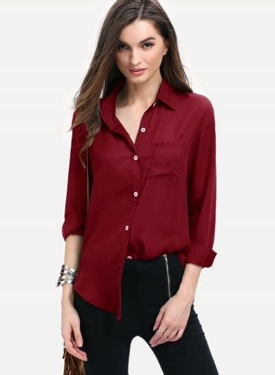 S Chiffon Button Blouse by Shirts Blouses For Oasap