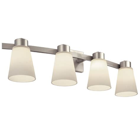 lowes bathroom lighting brushed nickel portfolio 4 light brushed nickel bathroom vanity light
