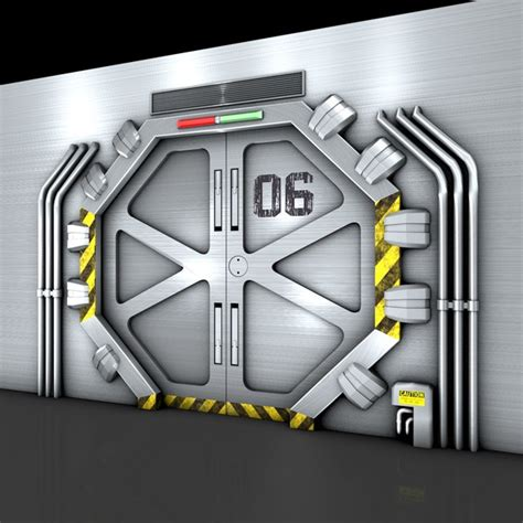 futuristic doors technological door 3d 3ds