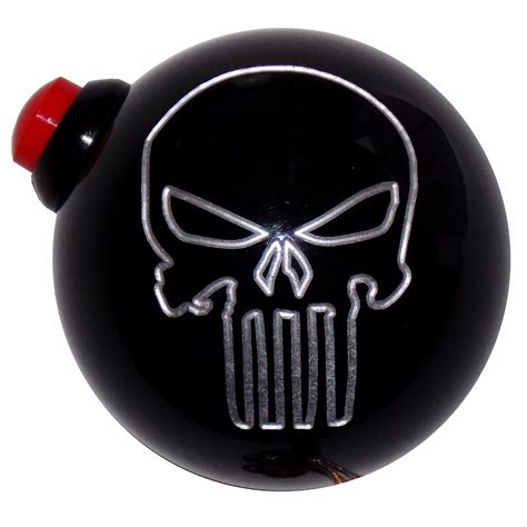 Push Button Shift Knob by Black Punisher Skull Side Mount 12v Switch Push Button