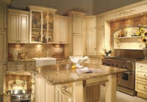 Kitchens With Different Colored Islands antiqued white painted cabinets traditional kitchen