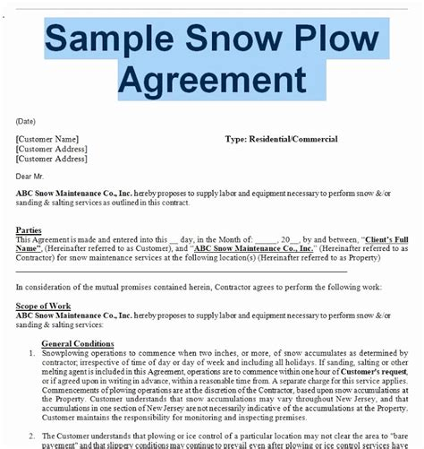 residential snow removal contract template residential snow removal contract template luxury sle