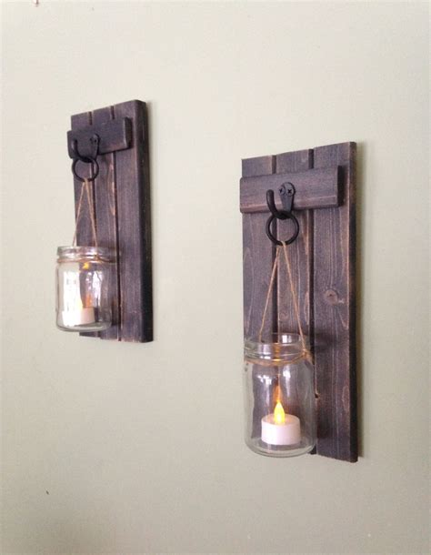 Indoor Wall Sconce Lantern Wooden Candle Holder Rustic Wall Sconce Mason Jar Candle