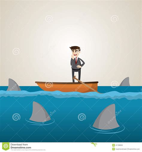 cartoon boat at sea cartoon businessman on boat with shark in sea stock vector
