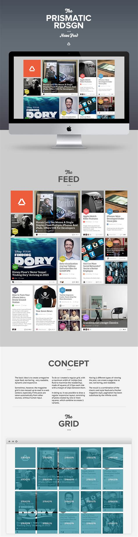 web layout behance prismatic newsfeed concept redesign on inspirationde
