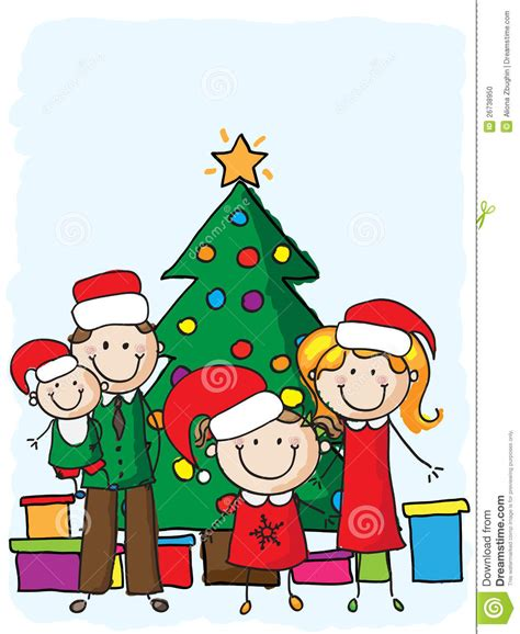 family near the christmas tree stock photo image 26738950