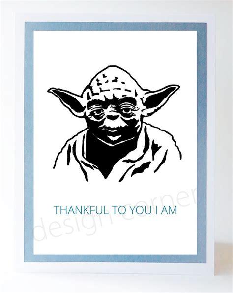 Thank You Card Starwars 13 illustrated wars yoda thank you card thank you cards and wars