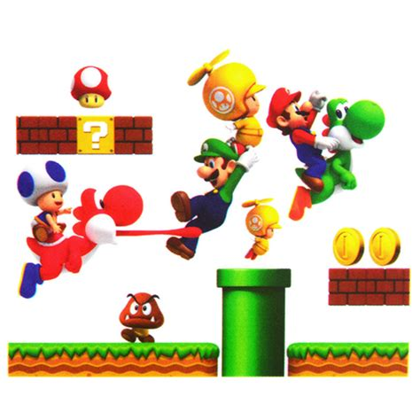 free shipping removable super mario bros wall stickers