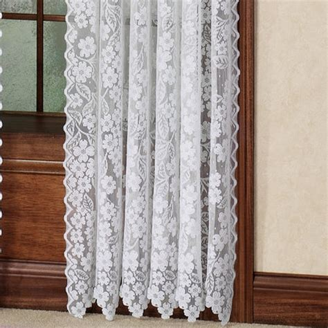delightful dogwood flower lace curtain panel ecru or white 63