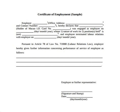 employee certificate of service template certificate of employment sles word excel sles
