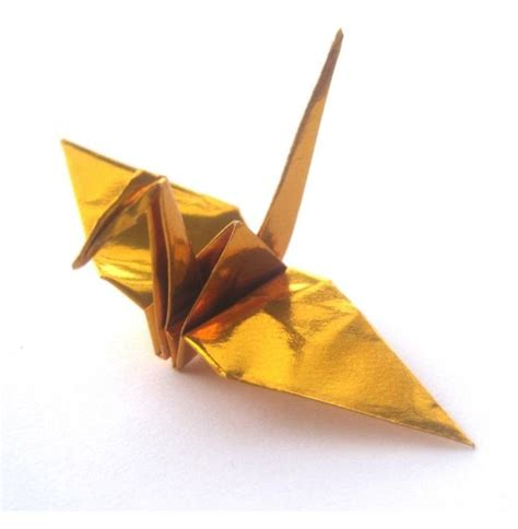Folded Paper Crane - metallic gold origami cranes graceincrease custom
