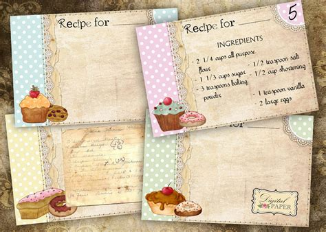 Can You Buy A Gift Card For Etsy - vintage recipe cards set of 4 printable cards