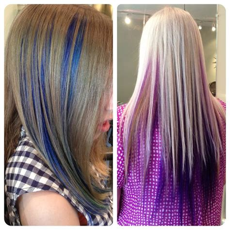 brown hair with blonde and blue highlights blue and purple highlight peekaboo panels in brown and