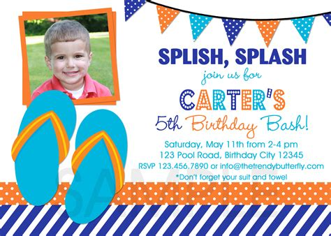 printable birthday invitations for 7 year old boy printable birthday party invitations summer themed invite