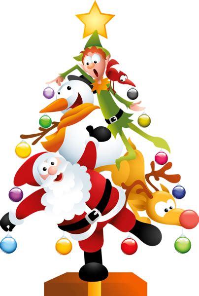 COMICAL SANTA, SNOWMAN, REINDEER AND ELF CHRISTMAS TREE ... Free Clip Art Santa And Reindeer