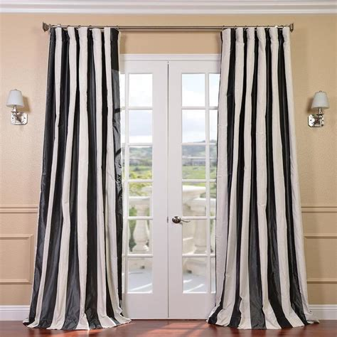 Black White Curtains Stripe Black And White Faux Silk Taffeta Curtain Panel