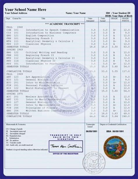 free college transcript template college transcript templates exles transcripts