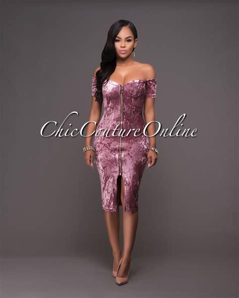 onnie dress chic couture onnie mauve velvet the shoulder