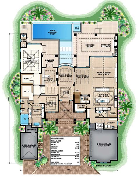 Grand Florida House Plan With Junior Master Suite Budron Florida House Plans With Two Master Suites