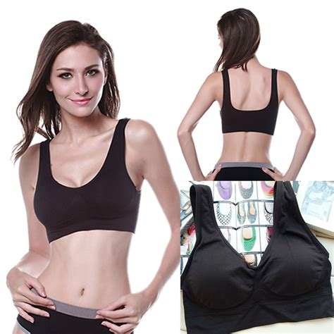 Active Co S Tank With Brasports No Pad womens stretch racerback fitness padded no pad sports bra workout tops tank ebay