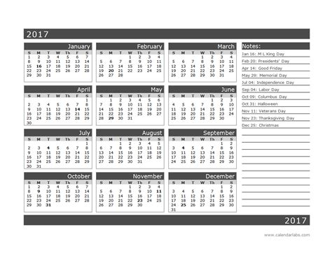 One Page Calendar 2017 2017 12 Month Calendar Template One Page Free Printable